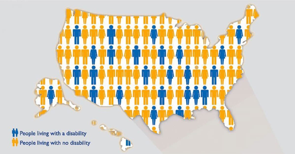 A map of the United States demonstrating what percentage of Americans live with disabilities.